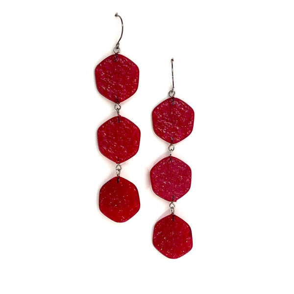 long bright red earrings