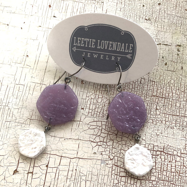 pastel purple white earrings