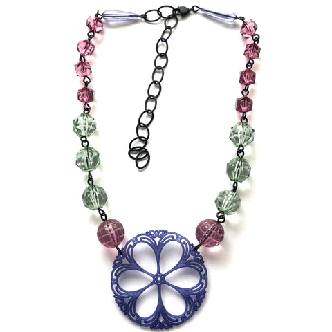 Amethyst & Mint Faceted & Lace Beaded Aleta Necklace