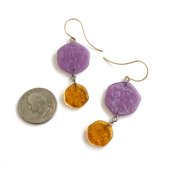 golden brown purple earrings