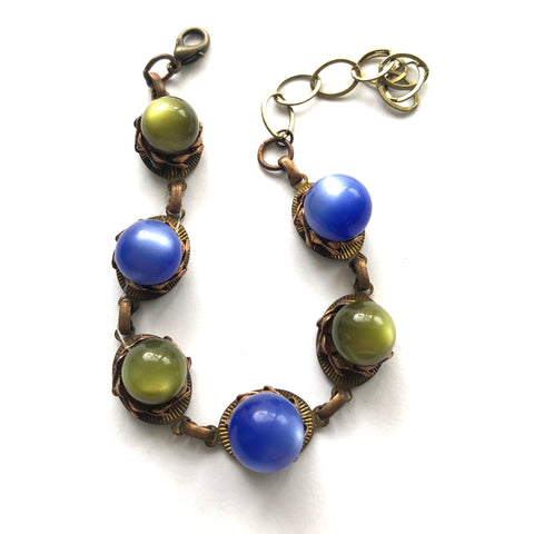 Olive & Sapphire Blue Moonglow Bubble Metal Bracelet