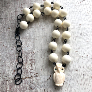 Ivory & Carved Owl Beaded Aleta Necklace
