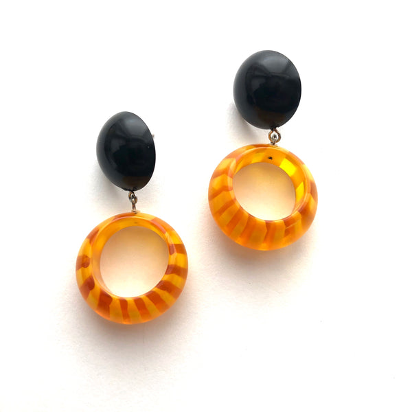 black yellow hoop earrings