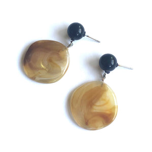 metallic gold black stud earrings