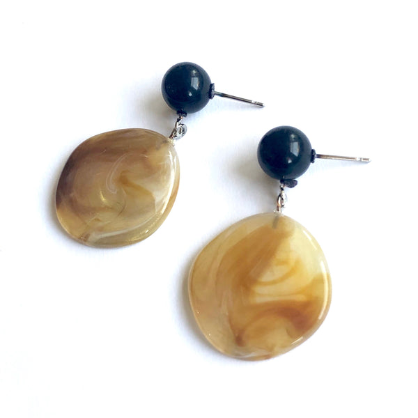 Gold & Black Marbled Lucite Geo Drop Earrings