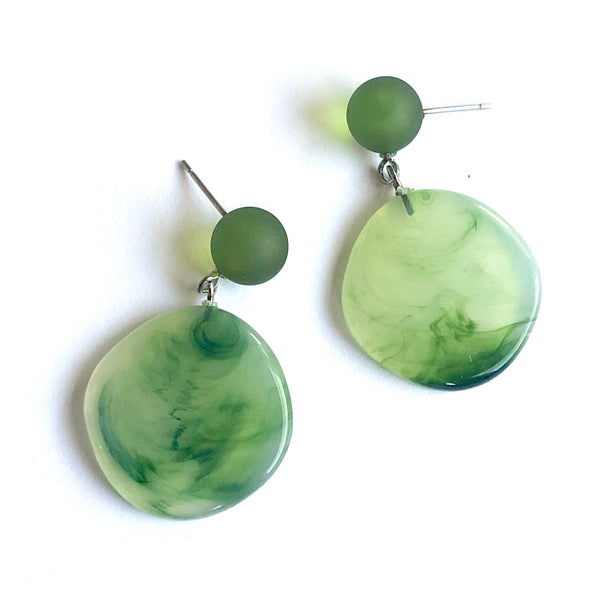 marbled opal green earrings