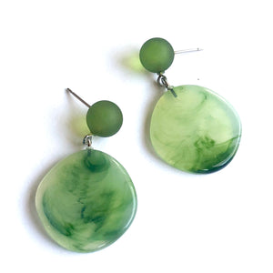 green marbled earrings