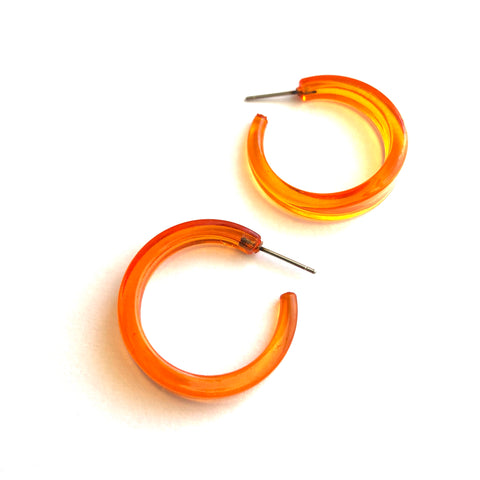 Orange Transparent Lucite Lola Hoop Earrings