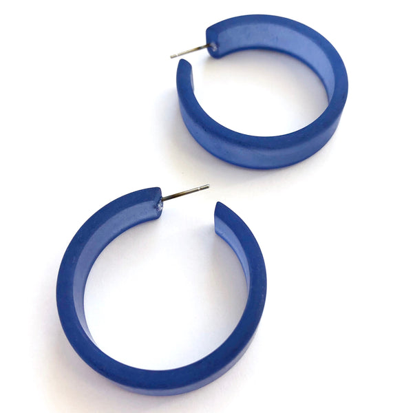 big blue hoop earrings denim