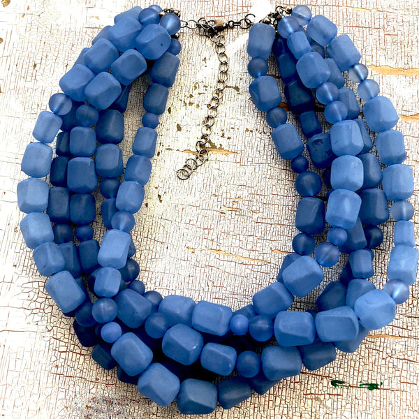 frosted dark blue necklace