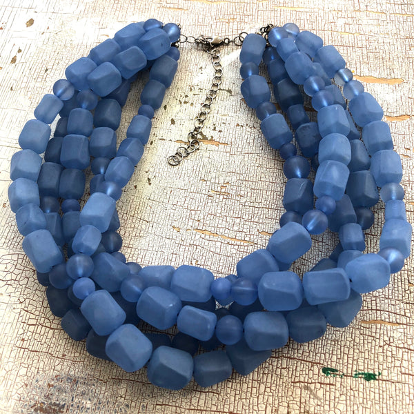 frosted slate blue necklace