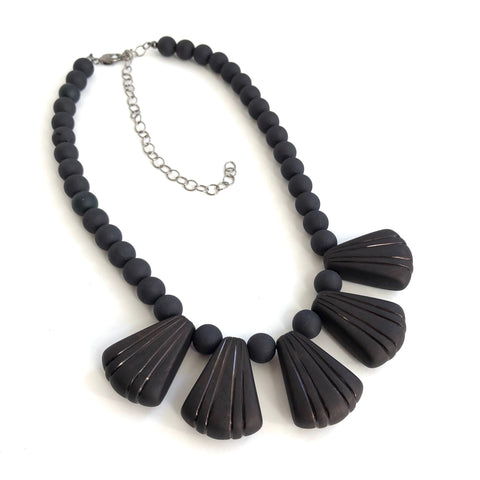 frosted black necklace