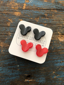 Vintage Disney Earrings Set | Black & Red Minnie & Mickey Mouse vintage moonglow Studs