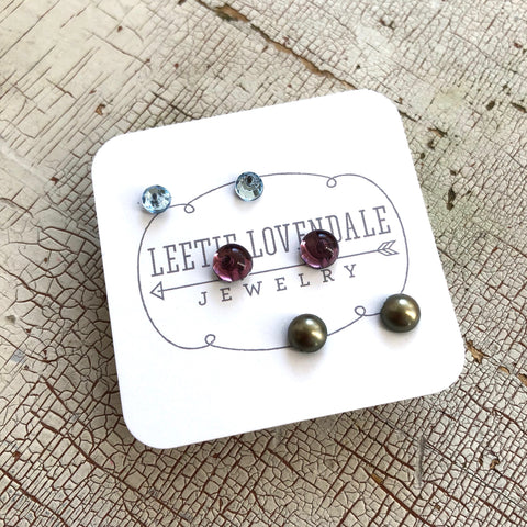 Tiny Bling & Pearls Studs Set | Green Pearl Amethyst & Ice Blue