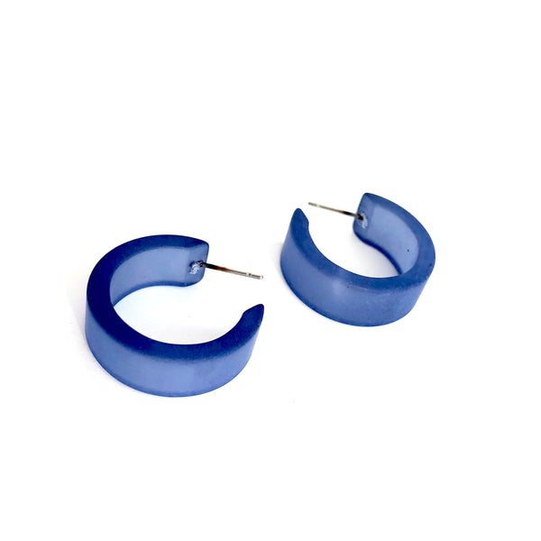 blue wide hoop earrings