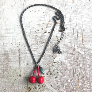 Cherry Bomb Gun Metal Layering Necklace - Shortie