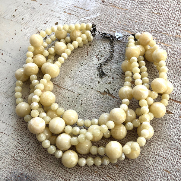 cream white statement necklace