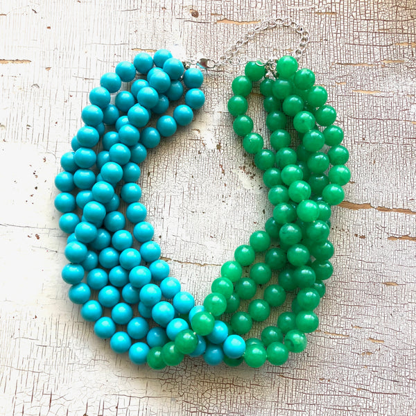 aqua blue statement necklace