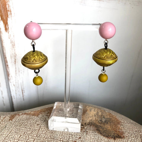 Soft Lilac with Gilded Olive Drop Statement Earrings