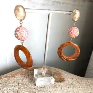 Floral Rose Pink and Marbled Honey Amber Luster Drop Statement Earrings