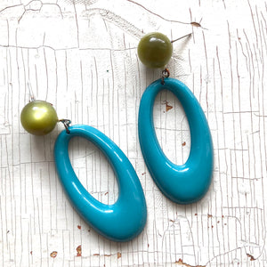Olive Moonglow & Teal Oval Donut Drop Earrings