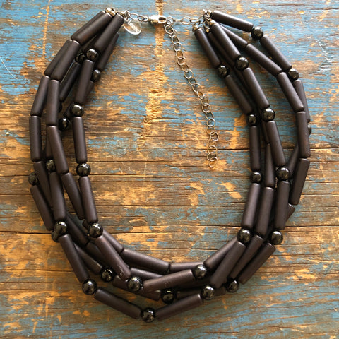 Black Matte Tube Beaded Sylvie Necklace