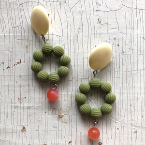 Ivory Olive Daisy & Pink Moonglow Retro Statement Earrings