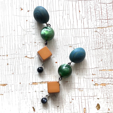 Slate Butterscotch & Moss Green Moonglow Retro Statement Earrings
