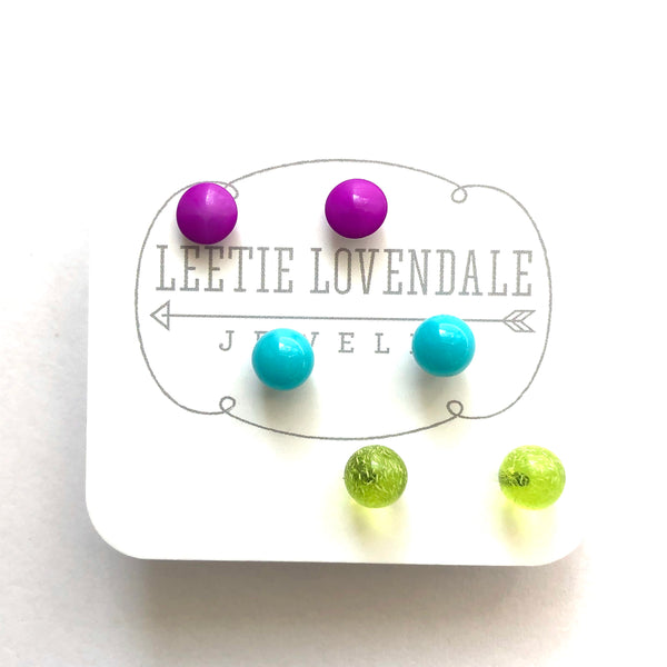 violet turquoise studs