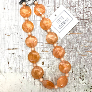 Peach Marbled Disc Lucite Marco Necklace
