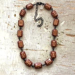 brown faceted necklace