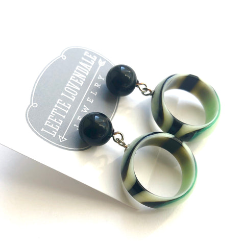 green black earrings