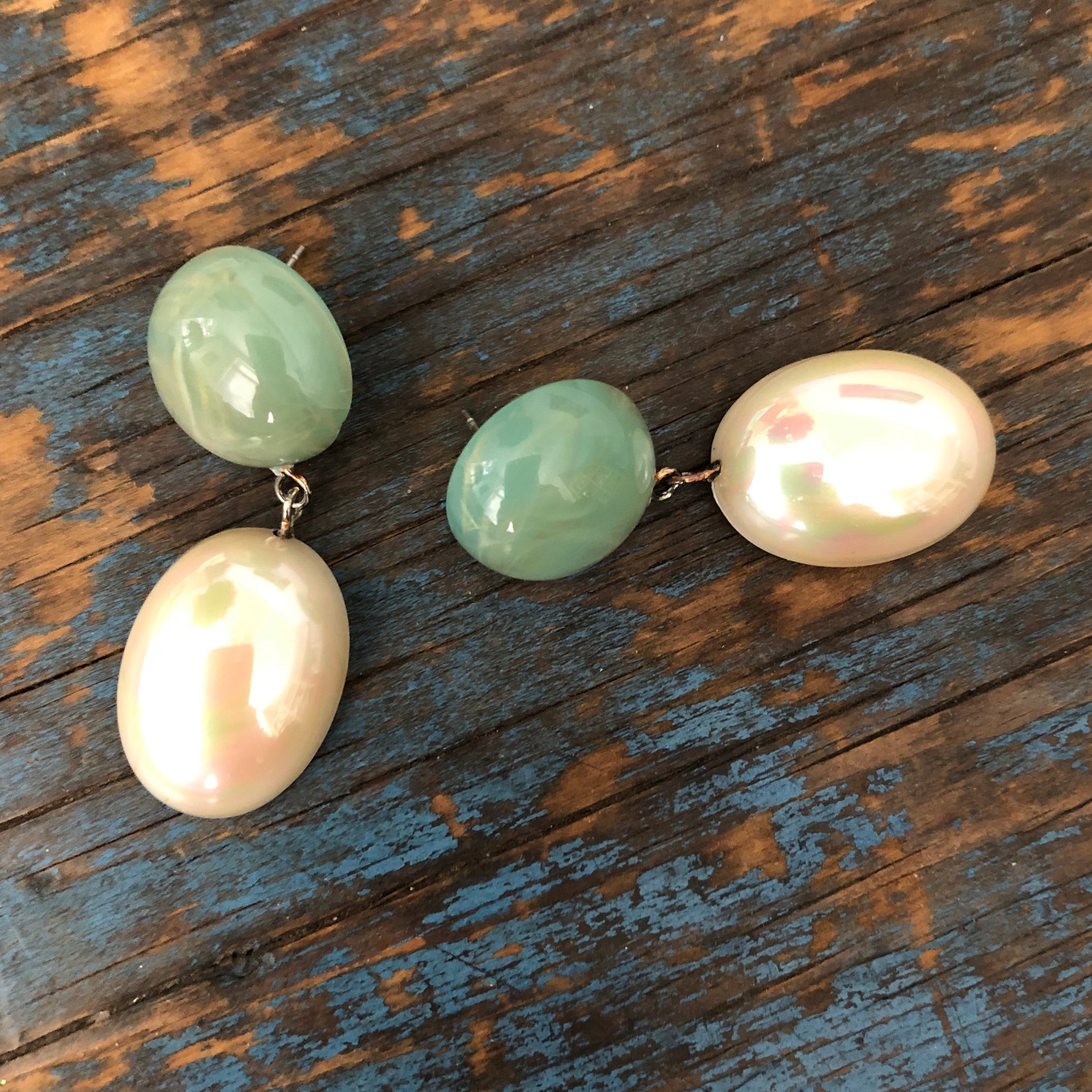 Sage Green & Gold Luxe Jelly Bean Earrings