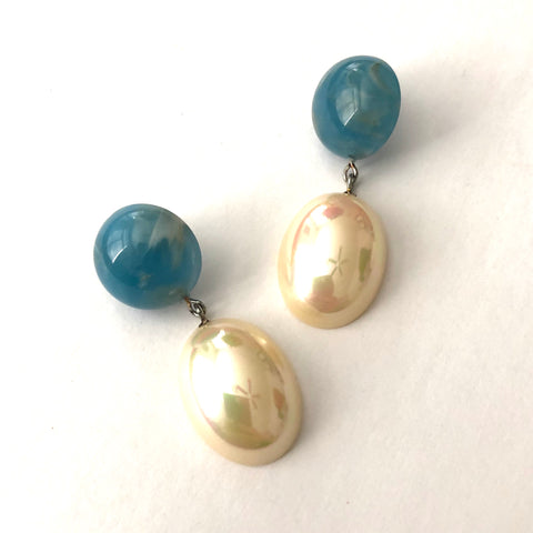 Peacock Blue & Gold Luxe Jelly Bean Earrings
