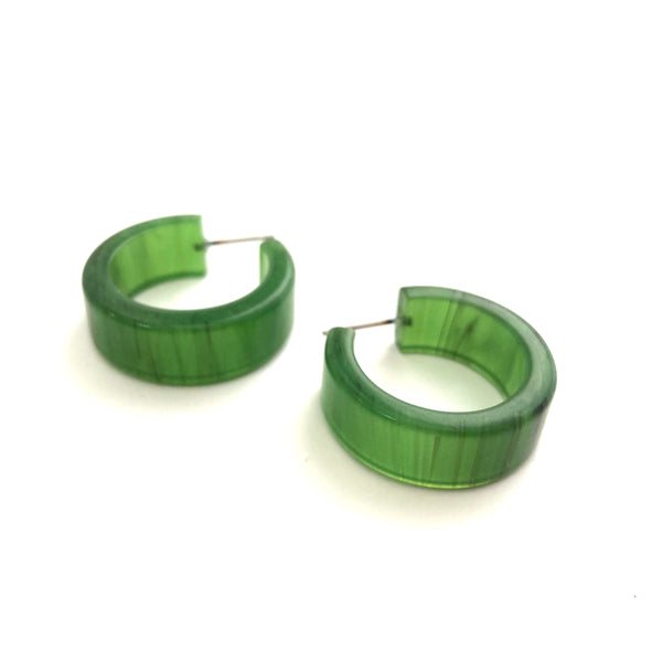 Jade Green Hoop Earrings | Marbled Wide vintage lucite hoops