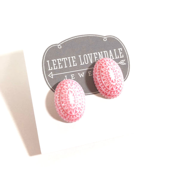 pink nordic earrings