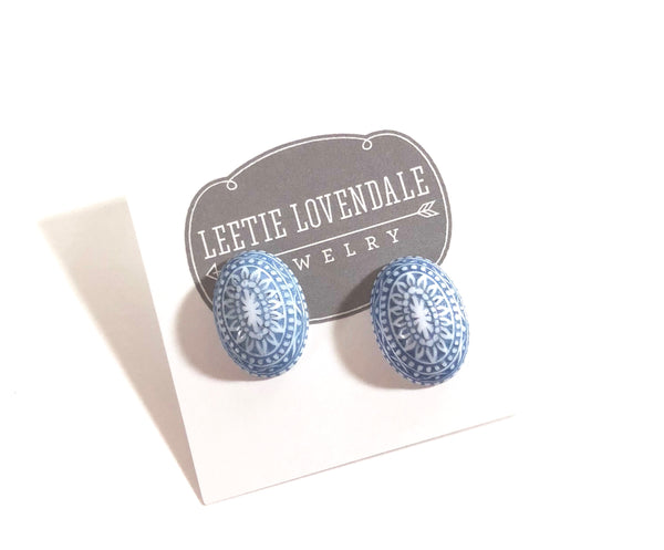 blue white earrings lucite