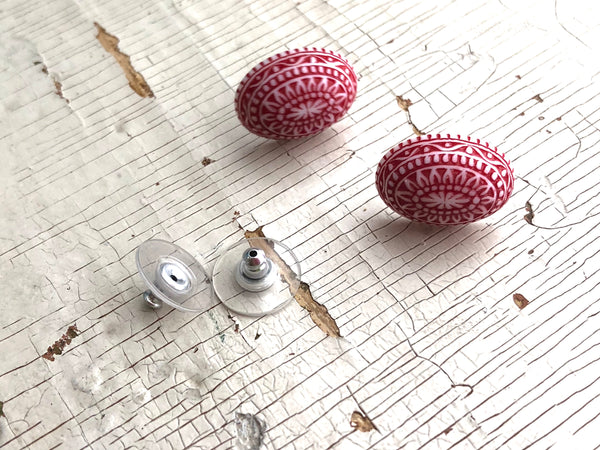 red lucite studs