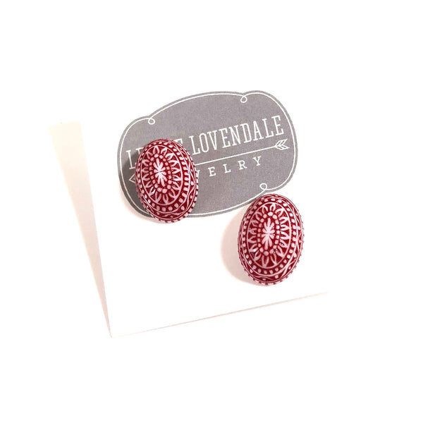 red stud earrings