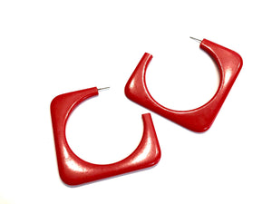 huge red square earrings