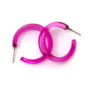 Hot Pink Transparent Lola Hoop Earrings