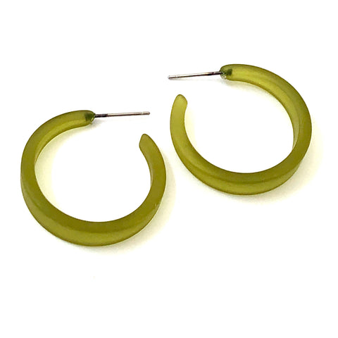 Olive Green Frosted Lola Hoop Earrings