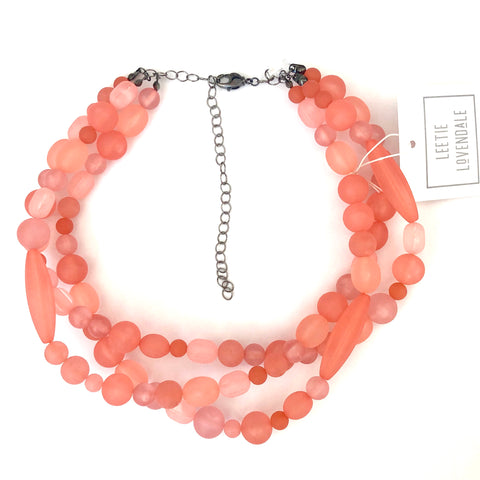 Coral Frosted Beaded Multi Strand Morgan Necklace