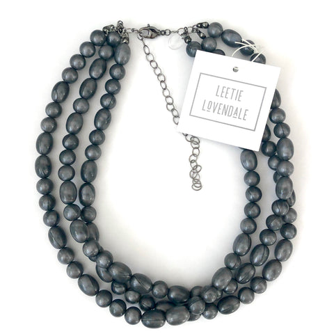 Charcoal Pearlized Beaded Morgan Necklace