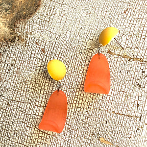 Sunshine Orange & Mustard Petal Drop Earrings