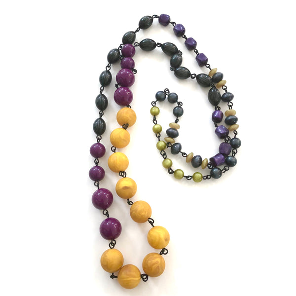 Mustard Yellow & Purple Grey Moonglow Rosary Chain Rope Necklacee