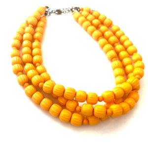 Marigold Mustard Fluted Multi Strand Morgan Necklace