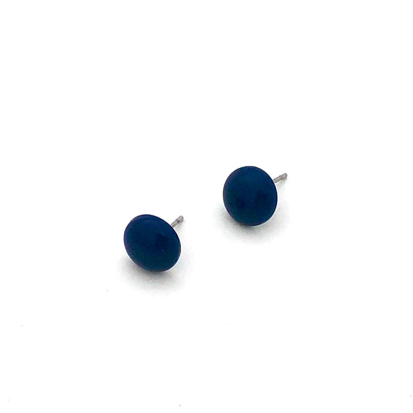 Navy Blue Small Retro Button Stud Earrings