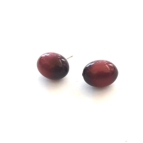 Deep Red Moonglow Oval Bulb Stud Earrings
