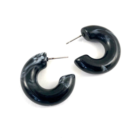 Black Marbled Chunky Polly Hoop Earrings